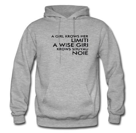 A girl krows her limiti hoodie