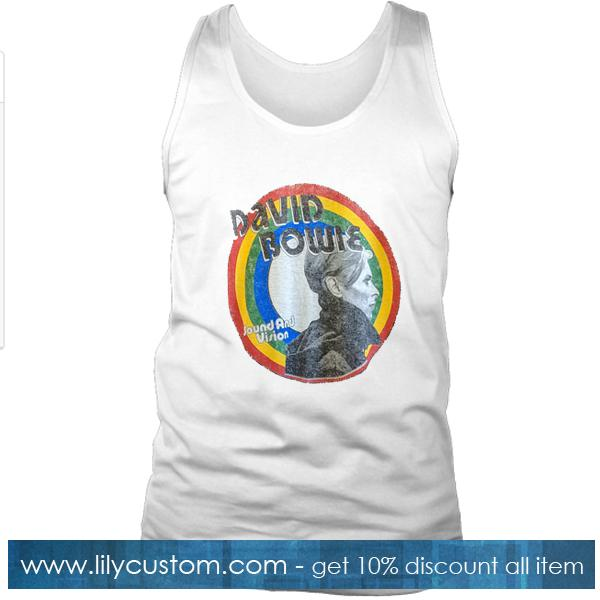 David Bowie Sound and Vision Burnout Rainbow Tank Top