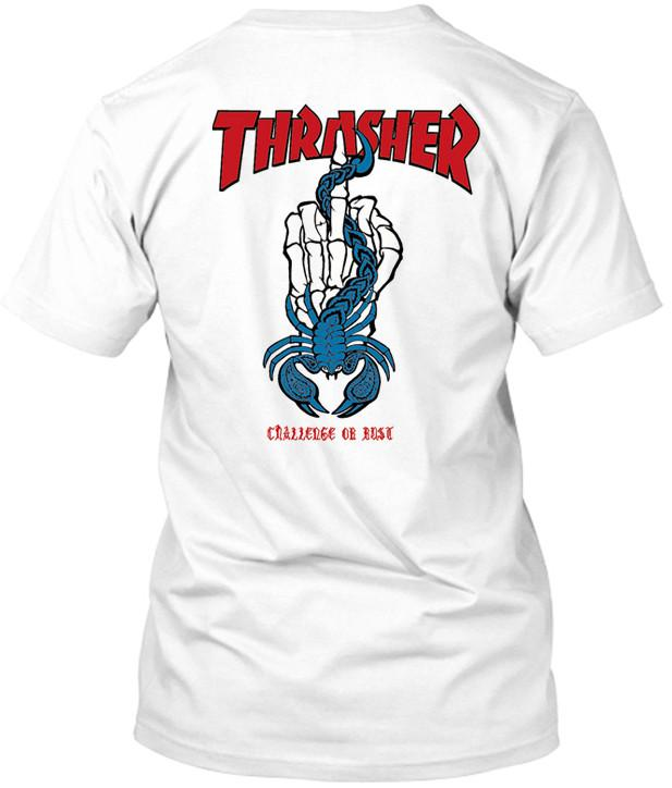 Light blue Thrasher challenge tshirt back