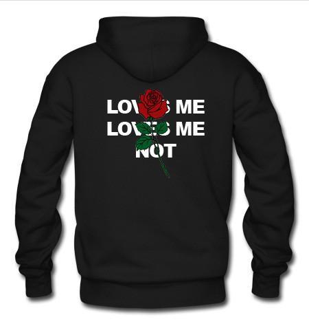 love me love me not roses hoodie back