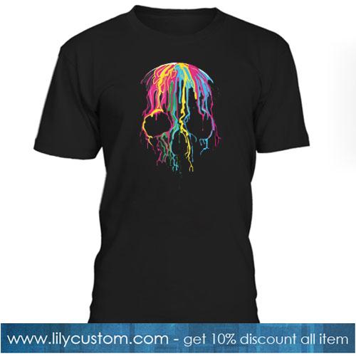 colorful melting skull art graphic halloween T-SHIRT SR