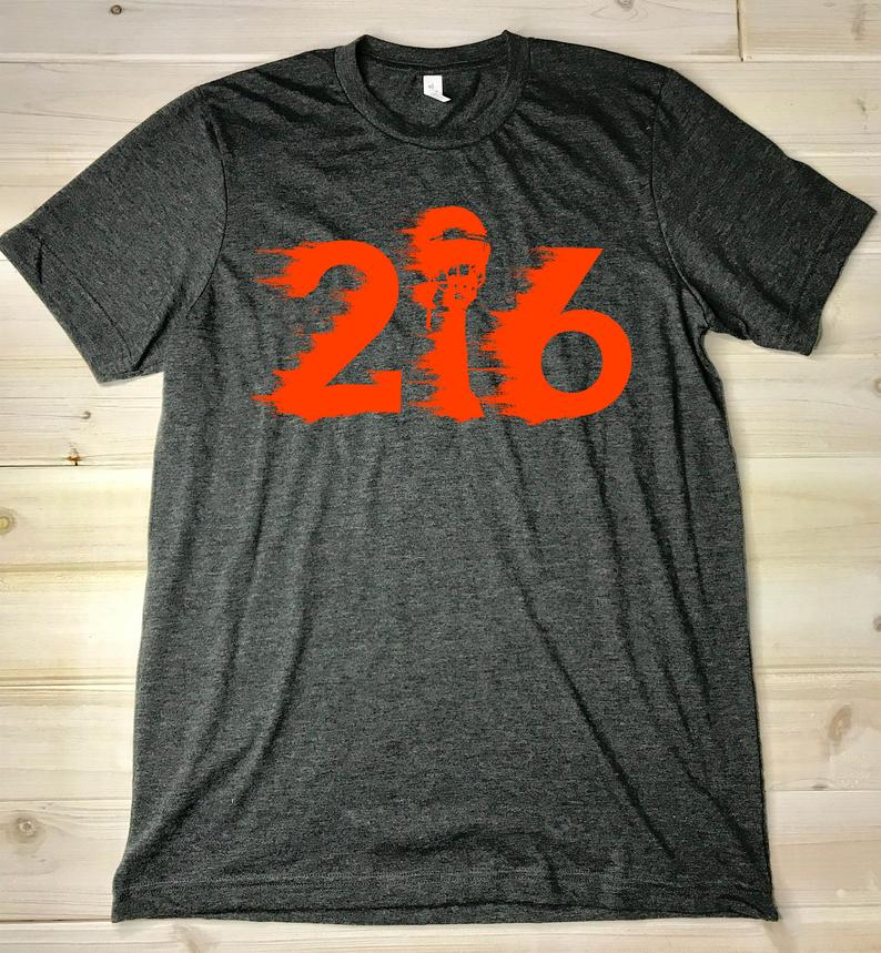 216 Cleveland Football Area Code Two One Six Ohio Grit Tees T Shirt SN