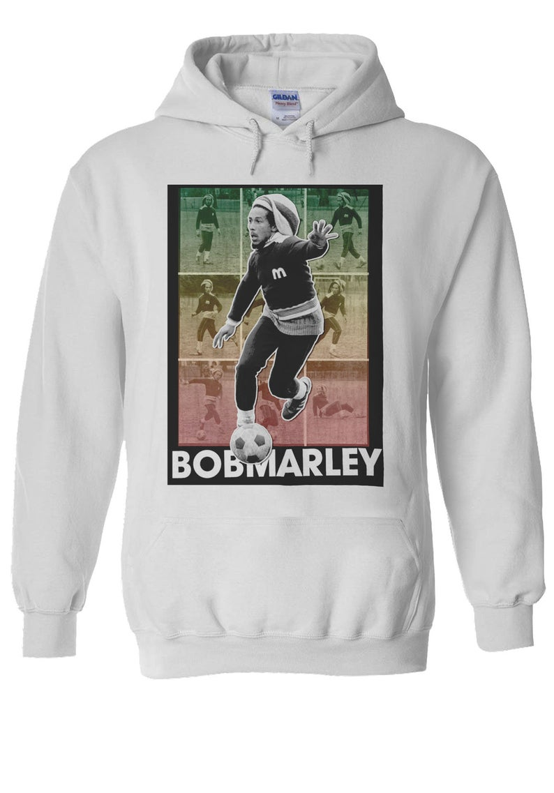 Bob Marley Playing Football Soccer Hoodie NA