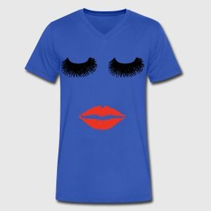 at this ladys sexy red lips and long eyelashes T-shirt