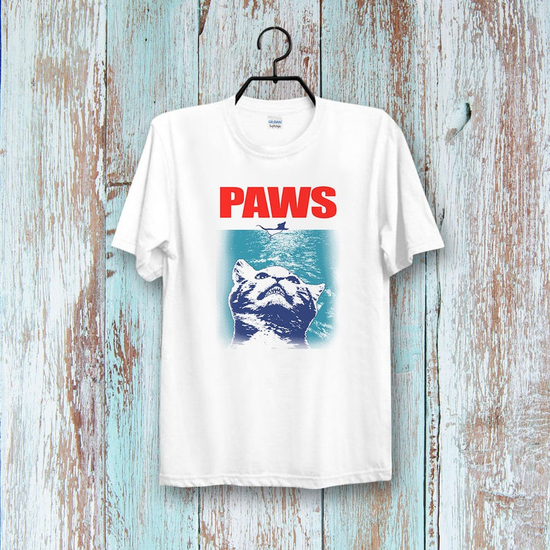 Funny Paws Jaws cats t shirt NA