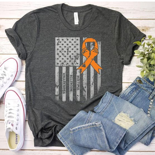 Multiple Sclerosis Awareness Flag t shirt NA